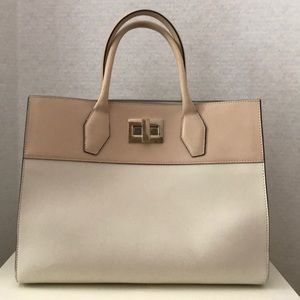 Alberta Di Canino Cream/ Pink Leather Handbag